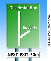 discrimination eqaulity teamwork roadsign