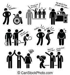 A set of human pictogram representing discrimination on disabled, race, career status, age, body figure, gender, and social status.