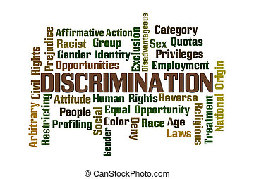 Discrimination Word Cloud on White Background