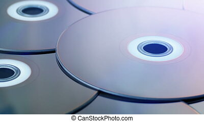 Discs In Flashing Light - Entertainment Concept - Closeup...