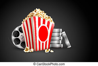 discs with film tape reel and popcorn vector illustration on...