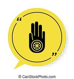 discurso, aislado, jain, amarillo, o, signo., símbolo, ...