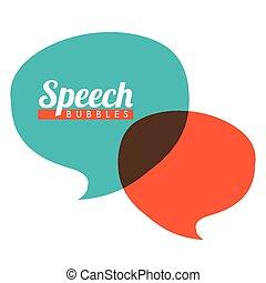 discurso, burbujas, comunicación
