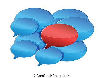 discurso, burbujas, comunicación, y, discusión