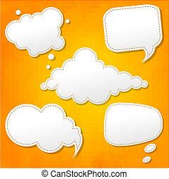 discurso, burbujas, conjunto, y, fondo anaranjado