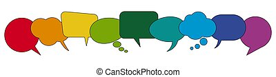 discurso, burbujas, fila, coloreado