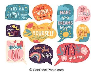 discurso, burbujas, motivación, conjunto