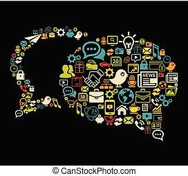 discurso, burbujas, vector, hecho, con, social, medios, iconos, conjunto