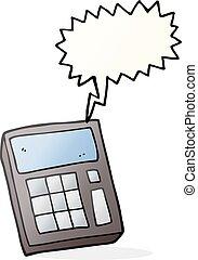 discurso, calculadora, burbuja, caricatura