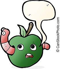 discurso, caricatura, burbuja, manzana, gusano
