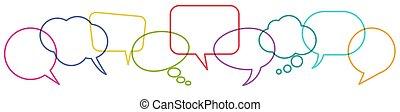 discurso, fila, coloreado, burbujas