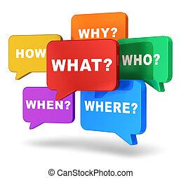 discurso, globos, preguntas