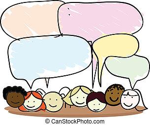 discurso, niños, burbuja, caricatura