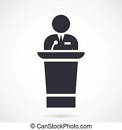 discurso, orador, marcas, tribune
