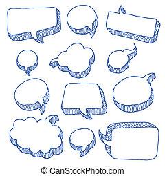 discurso, y, pensamiento, burbujas