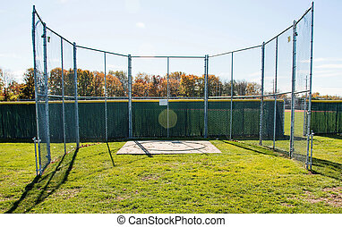 Discus cage at a local high school - Fenced in discus cage...