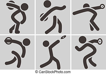 Summer sports icons - discus throw icons