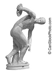 Discus thrower discobolus a part of the ancient Olympic Games. A Roman copy of the lost bronze Greek original. Isolated on white
