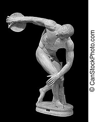 Discus thrower discobolus a part of the ancient Olympic Games. A Roman copy of the lost bronze Greek original. Isolated on black