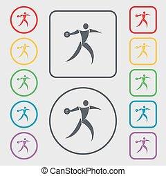 Discus thrower icon sign. symbol on the Round and square buttons with frame. Vector