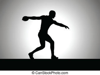 Discus Thrower - Silhouette illustration of discus throw...