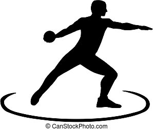 Discus thrower standing in the circle