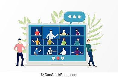 discusión, conferencia, empresarios, en línea, sobre, vídeo, virtual, estilo, caricatura, cursos, reunión, escuela, entrenamiento, plano, educación