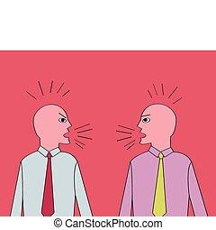 discusión, dos, hombres de negocios