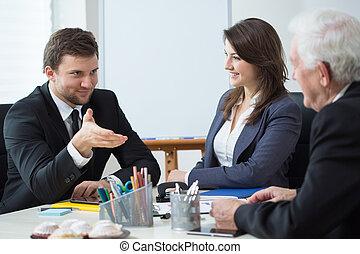 discusión, durante, empresa / negocio, cita