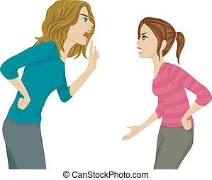 discusión, hija, madre