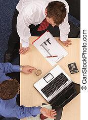 discusión, hombres, dos, empresa / negocio
