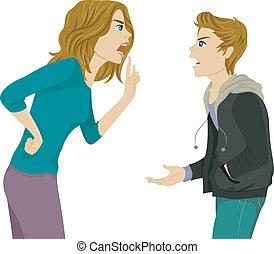 discusión, madre, hijo