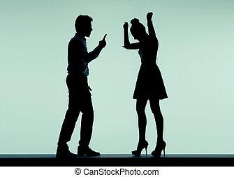 discusión, pareja, humor malo