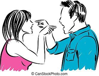 discusión, pareja, mujer, ilustración, hombre