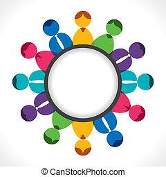 discusión, reunión, o, gente