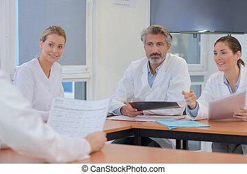 discusing, monde médical, roup, médecins, réunion, histoire