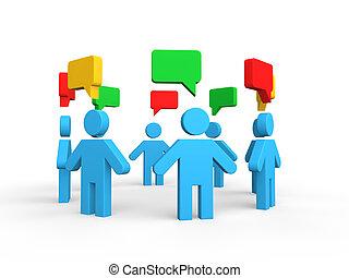 discussão, conceito, grupo, 3d