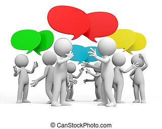 Discuss - Debate,Several people are discussed