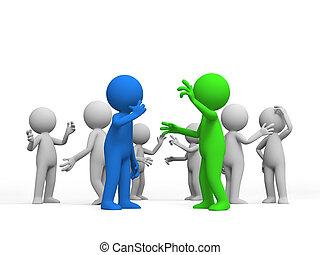 Discuss - Debate, Several people are discussed