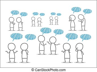 Discuss - Men discuss in different situations.