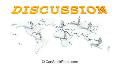 discussie, concept, met, handel team