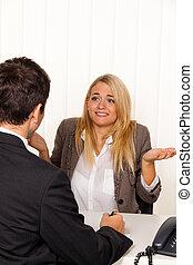 discussie, consultatie, consultants., consultation.