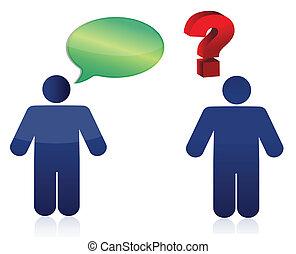 discussie, ontwerp, op, illustratie