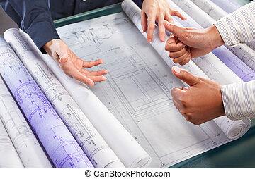 discussie, op, architectuur, ontwerp