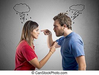 discussie, tussen, echtgenoot en vrouw