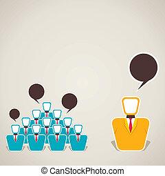 discussie, tussen, leider, team