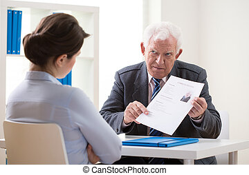 Discussing applicant's CV