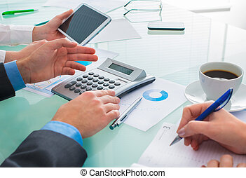 Discussing financial document