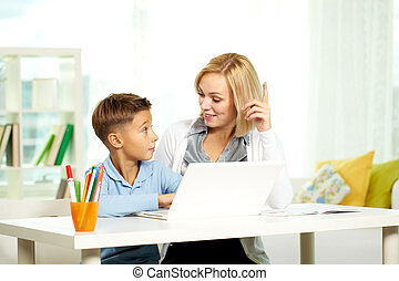 Discussing information - Portrait of pretty tutor and ...
