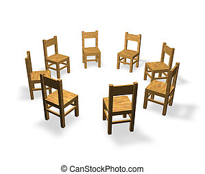 discussion - 8 chairs are located in the circle